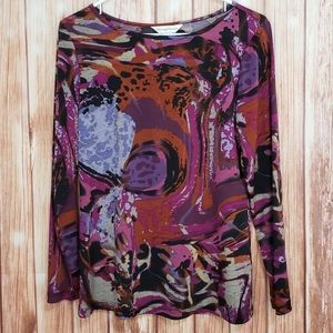 Christopher & Banks Long Sleeve colorful Top small